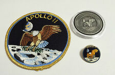 Apollo 11 Coin Contains Metal Flown To Moon Patch Pin Medallion NASA Space