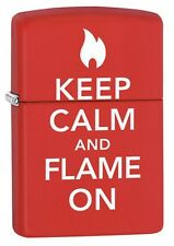 Zippo 28671, Keep Calm & Flame On, Red Matte Finish Lighter, Full Size