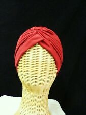 Chemo Turban Red Polyester Knit Gathered Knotted Style Head Cover Cap Hat New