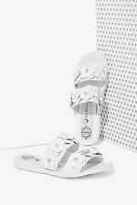 JEFFREY CAMPBELL Bastia Leather Sandal - White Floral 7.5 new