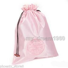 1PC Pink Lucky Pattern Handmade Silk Embroider Clothes Shoes Bags Drawstring