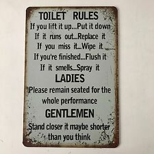 Toilet Rules Vintage Tin Sign Bar pub home Wall Decor Metal Poster