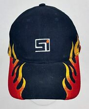 "Red Black Yellow Flame Adjustable Trucker Baseball Hat Cap ""Si"" Embroidered Logo"