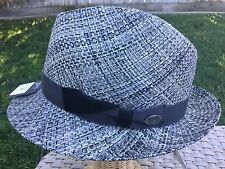 BAILEY OF HOLLYWOOD FIRMIN STRAW SILVER/BLACK FEDORA HAT XL 60CM 7 1/2