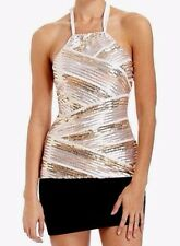 NWT bebe striped contrast party sequin bead halter dress top tank XS 0 2 vegas