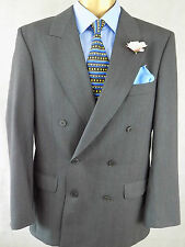 Jaeger  Double Breasted grey pinstriped WOOL SUIT 48 chest,32 Wx 32L bodybuilder
