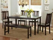 6 Pc Mocha Dining Room Set Kitchen Table Chairs Bench Wood Furniture Tables Sets