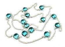 Beautiful! Blue Topaz Faceted Quartz Round Cut 925 Silver Plated Necklace Chain