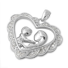 PERFECT MOTHERS DAY GIFT!  Russian CZ Heart .925 Sterling Silver SOLID Pendant