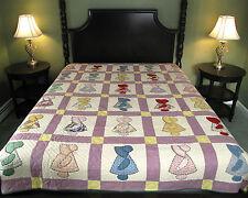 """Vtg 1930s Sunbonnet Sue Hand-Stitched Complete Cotton Quilt Full-Size 69"""" x 83"""""""