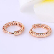 Lovely Gorgeous Womens 18K Rose Gold Filled Hollow Hoop Earrings Earings
