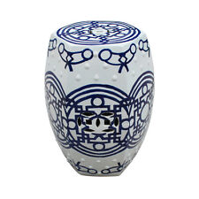 """Blue and White Chinese Porcelain Garden Stool Line Patterned 19"""""""