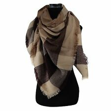 New Plaids &Check Blanket Oversized Tartan Big Long BEIGE Scarf Shawl Pashmina