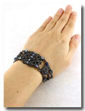 100a Vintage Victorian Montana Blue Crystal Swarovski Element Component Bracelet
