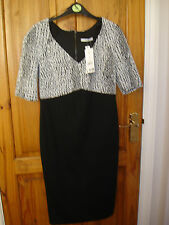 ASDA GEORGE BLACK AND WHITE SNAKESKIN TYPE PRINT DRESS ZIP SIZE 12 BNWT