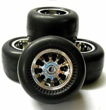 HS211517FR 1/10 Slicks Tamiya Caravan Monster Truck RC Wheels Tyres Chrome x 4