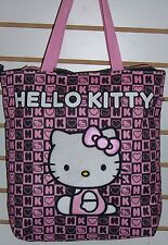 "Licensed Sanrio HELLO KITTY Pink & Black ""Blocks"" TOTE Shoulder BAG Purse NEW!!"