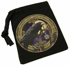 BEAUTIFUL RAVEN WITH PENTAGRAM RUNES OR CRYSTALS BAG 10cm x 13cm - LISA PARKER