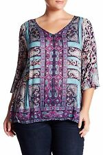 Lucky Brand Moroccan Paisley Border Scarf Print Peasant Blouse Women Size 2X New