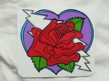 Heart with lighting bolt and rose, window sticker