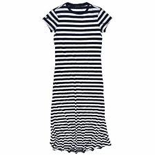 Polo Ralph Lauren Maxi Dress Womens Jersey Pony Logo Cotton Casual Solid Striped
