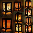 Asiatico Orientale Bambù Lampada da Comodino da Tavolo di Legno Luce Notturna