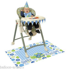 4 Piece Blue TURTLE Boy's Happy 1st Birthday Party High Chair Decorating Kit
