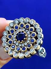 STERLING 925 SILVER SIZE 8 SAPPHIRE RING TURKISH HANDMADE JEWELRY R1592