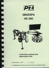 """PZ """"Grasspa HS 360"""" Hay Tedder Instruction Parts Book"""