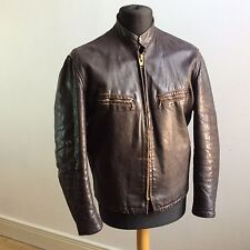vtg 1950s AMERICAN-MADE GENUINE LEATHER CAFE RACER JACKET BIKER TALON ZIPS 40