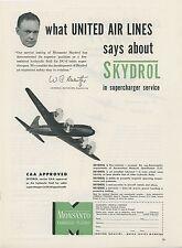 1949 Monsanto Skydrol Ad United Air Lines Aviation Airplane Aircraft Vintage