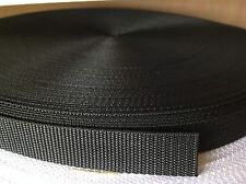 50 Meters Black Nylon Webbing Tape 25mm Wide