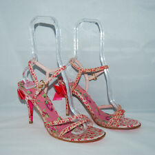 Betsey Johnson Pink Floral Bow Stiletto Heels Ankle Strap 9 M