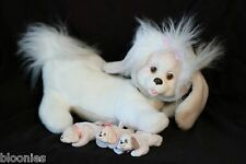 Puppy Surprise Brown & White Mama w/ 3 Girl Puppies Babies 1991 Hasbro Plush Toy