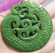 CHINESE OLD HANDWORK CARVE GREEN JADE DRAGON PENDANT STATUARY
