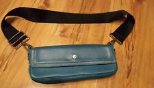BURBERRY AUTHENTIC  TEAL LEATHER HANDBAG  WITH THICK BLACK FABRIC STRAP