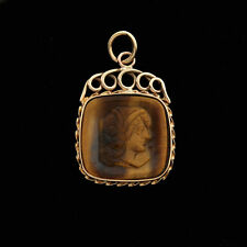 Victorian Original Handcrafted Tager's-eye Cameo 14K Antique Watch Fob / Pendant