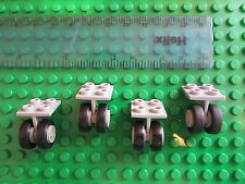 LEGO 4 Sets of Technic Aircraft Undercarriage Wheels Twin Grey 2x2 Plate Units
