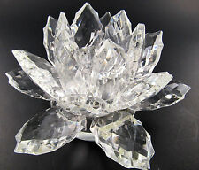 SHANNON CRYSTAL GLASS FLOWER LOTUS PETALS CANDLE HOLDER (LE)