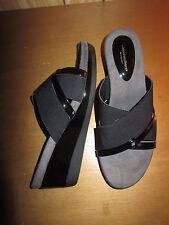 """Cloudwalkers black cross strap wedge sandals. 3"""" heel, Women's 13 wide"""