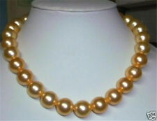 """AAA+ Gold 8mm South Sea Shell Pearl Beads Necklace 18"""""""