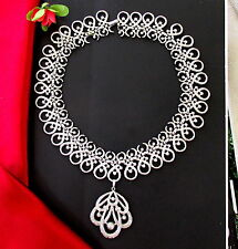 VTG TRIFARI WIDE SILVER PLATED ETRUSCAN STYLE PENDANT NECKLACE TEXTURED SWIRLS