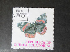 GUINEE EQUATORIALE, timbre THEME PAPILLONS, BUTTERFLY, RED ADMIRAL, oblitéré
