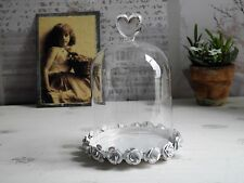 Cloche En Verre & Assiette Capot Dôme De Nostalgie Shabby Chic Vintage Rose
