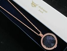 MI MILANO NECKLACE/PENDANT/KEEPER GENUINE AGATE COIN/MONEDA. STERLINA ROSE GOLD