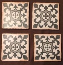 "Vintage Style Encaustic Ceramic Tile Coasters 5"" x 5"" Set of 4 Hand Finished NEW"