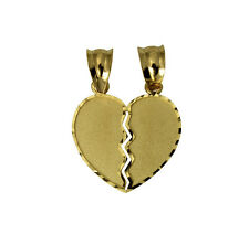 14K Yellow Gold Small Couple Broken Breakable Split Heart Love Charm Pendant