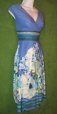 Liz Claiborne Blue Multicolor Floral Stripe Cotton Empire Work Dress 4 $89