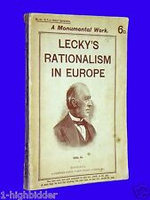 1910 Leckys Rationalism in Europe Vol II History RPA Cheap Reprints Lecky London