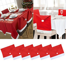 Red Santa Chair Hat Cover Table Cloth Cover Xmas Christmas Party Dinner Decor